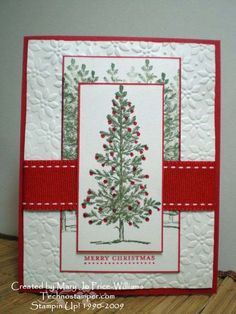 Christmas card...Stampin' Up!...great design using red, green and white...luv the shiny little Stickles ornaments on the tree...