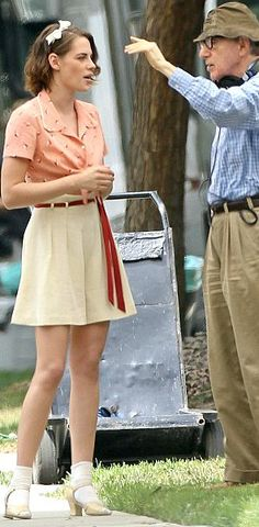 Kristen Stewart and Woody Allen on the set of his upcoming movie, 8/21/15