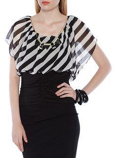 Striped Blouson Top