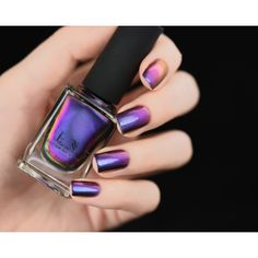 Peace Blue Purple Fuschia Pink Gold Color Shifting Ultra Chrome Nail... ($13) ❤ liked on Polyvore featuring beauty products, nail care, nail polish, nails and shiny nail polish