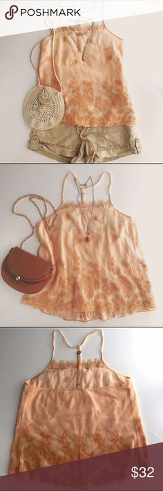 """Anthropologie Eloise Embroidered Peach Camisole Anthropologie Eloise Embroidered Peach Camisole Size S  Lovely embroidered tank with spaghetti straps. Perfect color for spring. Wear as lingerie or a cute outfit fit with shorts or skinny jeans  Shell - 100% Nylon, Lining - 100% Cotton, Embroidery - 100% Polyester  Flat measurements: Between straps - 8"""",  Bust - 17"""",  Length - 18"""" ( from neckline to hem - straps are adjustable) Anthropologie Tops Camisoles"""