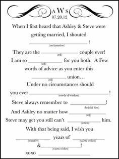 Printable Wedding Mad Lib -- A Fun Guest Book Alternative DIY by christy