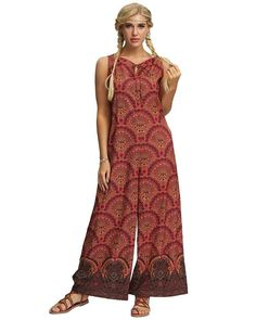 Summer Women Rompers Jumpsuits Sleeveless Playsuits Floral Printed Wide Leg Jumpsuit Large Size Color Red Size S Rompers Women, Jumpsuits For Women, Beach Jumpsuits, Playsuits, Summer Beach, Wide Leg, Baggy Trousers, Harem Pants, Color Red