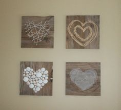 """Hang vertical columns from pallet/reclaimed wood header board """"Fill your world with LOVE"""" have each kid bring in neutral item of their choice to make heart on wood square. each kd writes """"love"""" in a different language under the heart in white or black paint pen/ sharpie? Pallet Heart Art by Julie @ Renew-Create-Restore.blogspot.ca"""