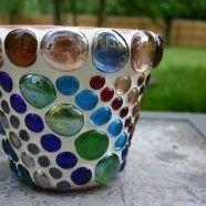 """""""beaded"""" flower pots"""