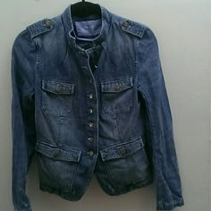 Gap military inspired denim jacket So cute, broken in look.  Distressed throughout and it came that way.  GAP 1969 GAP Jackets & Coats Jean Jackets