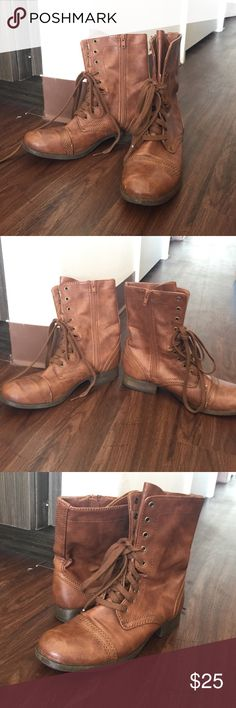 NWOT Brown combat boots NWOT brown combat lace up boots! Very cute and great for fall!! Shoes Lace Up Boots