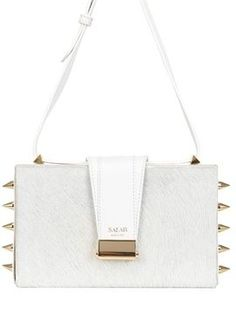 5a085f82718d Lou Spikes Studded Ponyskin Box Bag on shopstyle.com Black And White Bags