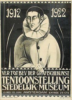 Poster 1912 - 1922 Ver tot Bev der Grafischekunst Tentoonstelling Stedelijk Museum / Amsterdam design Lodewijk Schelfhout executed by Dieperink Amsterdam / the Netherlands 1922