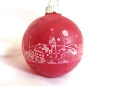 Vintage Shiny Brite Christmas Ornament, Red Unsilvered Ball with White Stenciled Church Holiday Ornament