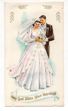 Vintage Wedding Greeting Card Bride & Groom