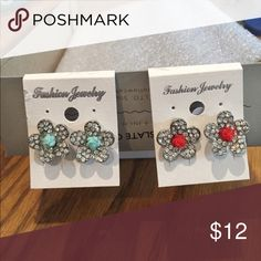2 sets if earrings-sparkle flower. Mixed metals. Has small rose in middle Mystic Jewelry Earrings