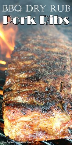 BBQ Dry Rub Pork Ribs are grilled low and slow with a delicious dry rub seasoning, and they are tender and juicy. #porkribsrecipe #barbecueporkribs #grilling #easybbqribs #greatgrubdelicioustreats Barbecue Pork Ribs, Ribs On Grill, Barbecue Recipes, Grilling Recipes, Picnic Recipes, Recipes Dinner, Dinner Ideas, Easy Meat Recipes, Pork Recipes