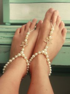 Set-of-2-Barefoot-Bridal-Sandals-Starfish-Beach-Wedding-Foot-Jewelry-ONE-SIZE