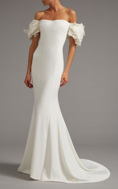 Off the Shoulder Gown with Draped Sleeve by Elizabeth Kennedy