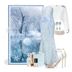 """Ice Blue"" by jckallan ❤ liked on Polyvore featuring Balmain, Saiid Kobeisy, Valentino, Marina J., Marc Jacobs, Estée Lauder, NARS Cosmetics, Winter and contestentry"