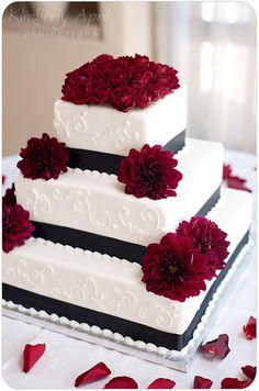 black white red wedding cake