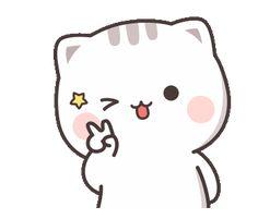 Cutie Cat-Chan Three Cute Anime Cat, Cute Bunny Cartoon, Cute Kawaii Animals, Cute Cartoon Pictures, Cute Love Pictures, Cute Love Cartoons, Cute Cat Gif, Kawaii Cat, Beautiful Pictures