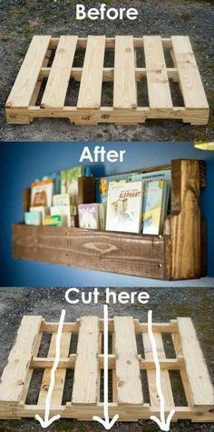 12 DIY Shelf Ideas for Kids' Rooms Why buy expensive shelving? Make your own one-of-a-kind, DIY shelves with these fun and creative ideas for kids' rooms. - 12 DIY Shelf Ideas for Kids' Rooms: Easy Pallet Book Shelves Pallet Furniture Bookshelf, Diy Furniture Projects, Book Furniture, Upcycled Furniture, Diy Furniture From Pallets, Diy Nursery Furniture, Pallet Bookshelves, Palette Furniture, Pallet Furniture Designs