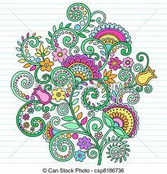 psicodélico, Doodles, flores, y, vides - csp8186736