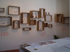 Cardboard boxes for wall displays