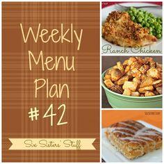 Six Sisters' Weekly Menu Plan #42