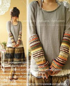 Mori Girl-- sew old sweater sleeves onto a short sleeve shirt or a plain long sleeve. Mori Fashion, Diy Fashion, Ideias Fashion, Dress Fashion, Trendy Fashion, Fashion Shirts, Sweater Fashion, Street Fashion, Fashion Sewing