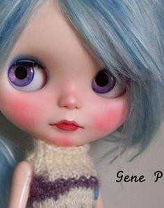 Blythe custom ooak Little blue lamb Alpaca hair by Gene P cute japanise doll
