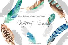 Hand painted watercolor clipart / Drifting Away This clipart set is including hand painted watercolor feathers, succulents, and skull. Watercolor Feather, Watercolor Art, Drift Away, Textile Design, Succulents, Clip Art, Hand Painted, Atelier, Watercolor Painting