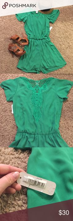 Brand New Green Romper Perfect romper for spring, summer, or fall. Brand New with the tags. All green with elastic around the waste and lace embroidery down the back 💐 Bundle and save ❣️ Charming Charlie Pants Jumpsuits & Rompers