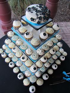 Aqua, Black, and White Cupcake Tower by OurLadyofCupcakes, needs more cupcakes
