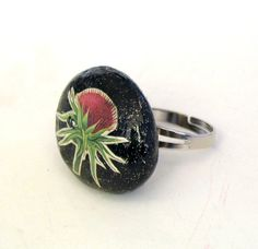 Natural stone ring Handmade Black Arthichoke One of by mammamiaeme