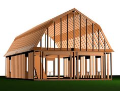 Related Barn Garage Plans Gambrel Roof Style - Home Plans & Blueprints Storage Building Homes, Building A Shed, Gambrel Barn, Gambrel Roof, Barn Garage, Garage Plans, Garage Ideas, Garage Doors, Halle
