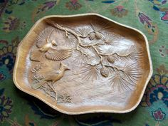 Mid Century Multi Prod USA Decorative Bird Tray Faux Bois Bluejays Pine Cones by lookonmytreasures on Etsy