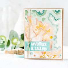 Watercolored topography masculine card by Debby Hughes. Find out more about his card by clicking on the following link: http://limedoodledesign.com/2017/02/watercolored-topography-masculine-card/