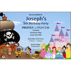 Diy pirate and princess birthday party invitation 471 princess and pirate birthday invitations home pirate princess personalised birthday party invitation cards filmwisefo