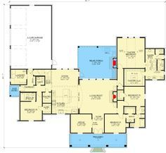Four Bed Southern Home Plan with Optional Bonus Room - floor plan - Main. - House Plans, Home Plan Designs, Floor Plans and Blueprints House Plans One Story, Ranch House Plans, Best House Plans, Dream House Plans, Story House, House Floor Plans, Home Design Plans, Plan Design, Design Ideas