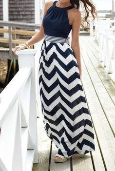 Adorable Navy & White Chevron Maxi Dress
