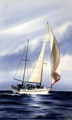 Sailboat Art, Sailboat Painting, Sailboats, Laser Sailboat, Watercolor Landscape, Landscape Paintings, Watercolor Paintings, Boat Insurance, Poster Prints