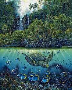 Emerald Hana Honu by Robert Lyn Nelson ~ sea turtle tropical fish under the sea art ~ acrylic on canvas Mystical Art, Cool Artwork, Ocean Painting, Seascape Artists, Turtle Watercolor, Marine Art, Under The Sea Pictures, Fish Under The Sea, Ocean Tattoos