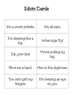 Idiom Lesson - use as a list of idioms for lessons - repinned by @PediaStaff – Please Visit  ht.ly/63sNt for all our ped therapy, school & special ed pins