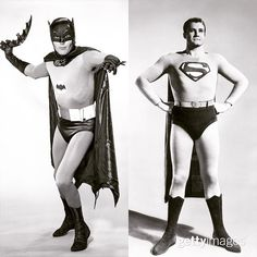 #TBT #BatmanvSuperman #WhoWillWin I : ABC Photo Archives/ABC via Getty Image and Hulton Archive/Getty Images I #batman #superman #AdamWest #GeorgeReeves @disneyabcphoto by gettyentertainment