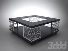 Square black table with white lattice corner legs