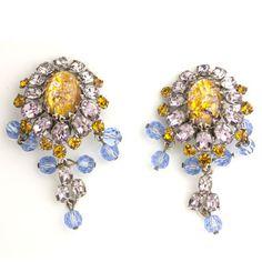 Schreiner Vintage Jewelry - Citrine & Amethyst Dangle Earrings