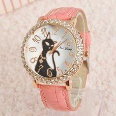 Black Cat pink watch