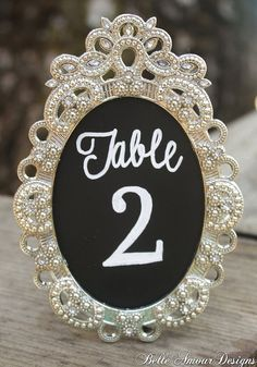 Table numbers in a picture frame