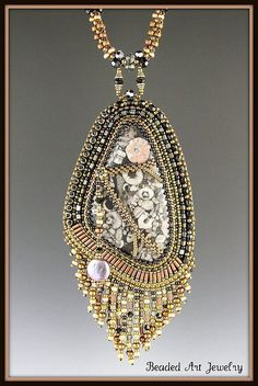 Natural Stone Bead Embroidered Necklace by Beaded Art Jewelry, via Flickr. Susan A Pierle