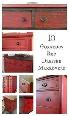 Red Chalk Paint and Black Glaze Furniture Makeover - Painted Furniture Ideas Red Painted Furniture, Chalk Paint Furniture, Refurbished Furniture, Repurposed Furniture, Furniture Projects, Furniture Makeover, Home Furniture, Dresser Makeovers, Dresser Furniture