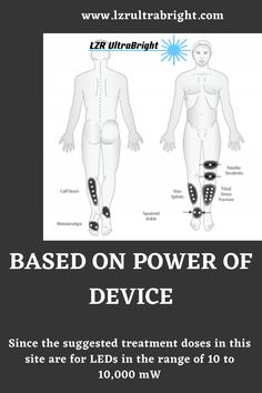 The above chart notes the approximate treatment times based on the power of the device being used. Since the suggested treatment doses in this site are for LEDs Led Therapy, Light Therapy, Body Diagram, Body Treatments, Joules, Full Body, Anxiety, Depression, Psychology