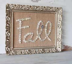Buttons and Burlap Fall Decor in Vintage Frame by ClothandPatina